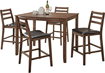 Amazon Com Best Choice Products 3 Piece Wooden Round Table Chair Set For Kitchen Dining Room Compact Space W Steel Frame Built In Wine Rack Black Silver Furniture Decor