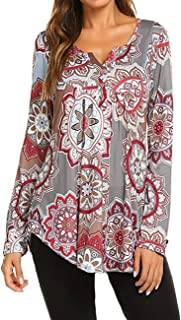 Women's Paisley Printed Long Sleeve Henley V Neck Pleated...
