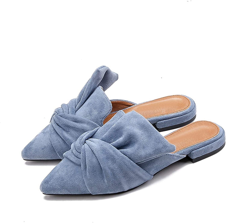 Free-Island Mules Elegant Pointed Toe Flat shoes Women bluee Bowtie Women Flats Fashion Slip on