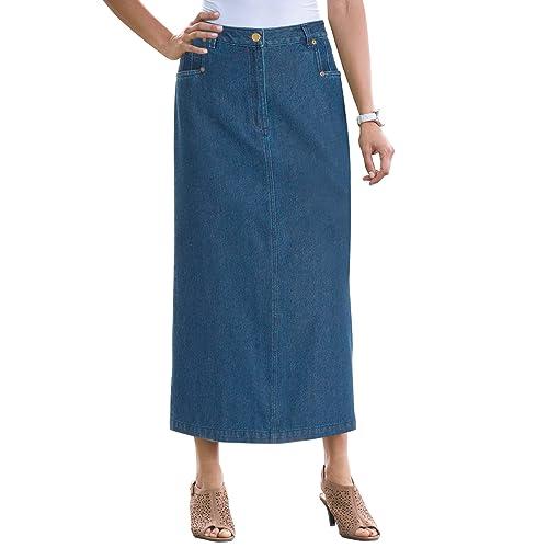 6b45516311b Jessica London Women s Plus Size Classic Cotton Denim Long Skirt