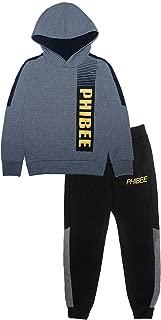 PHIBEE Boys' Fleece Pullover 2 Pieces Hoodie Jogger Set