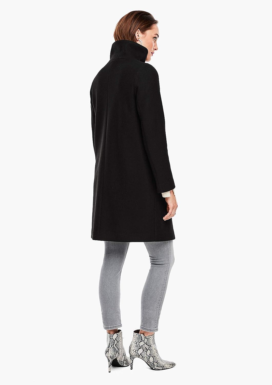 s.Oliver BLACK LABEL Damen Wollmix-Mantel mit Stehkragen Schwarz