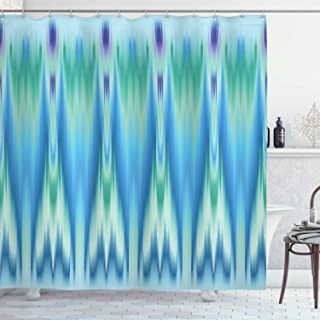 Ambesonne Teal Decor Collection, Colorful Ethnic Fabric Pattern Ikat Style Tie Illustration Vertical Geometric Lines, Polyester Fabric Bathroom Shower Curtain Set with Hooks, Blue Green