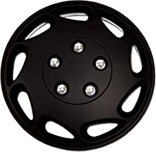 TuningPros WC-15-807-B 15-Inches Pop On Type Improved Hubcaps Wheel Skin Cover Matte Black Set of 4