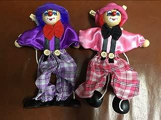 Sparik Enjoy 2 Packs Clown Hand Marionette Puppet Children's Wooden Marionette Toys Colorful Marionette Puppet Doll Parent-Child Interactive Toys- Purple and Pink