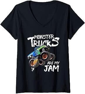 Womens Monster Truck Are My Jam Vintage Retro Racing Trucks Lover V-Neck T-Shirt