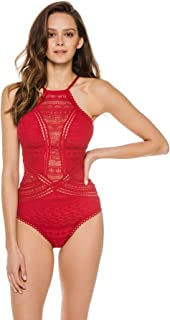 Becca by Rebecca Virtue Women's Color Play Lace High Neck One Piece Swimsuit