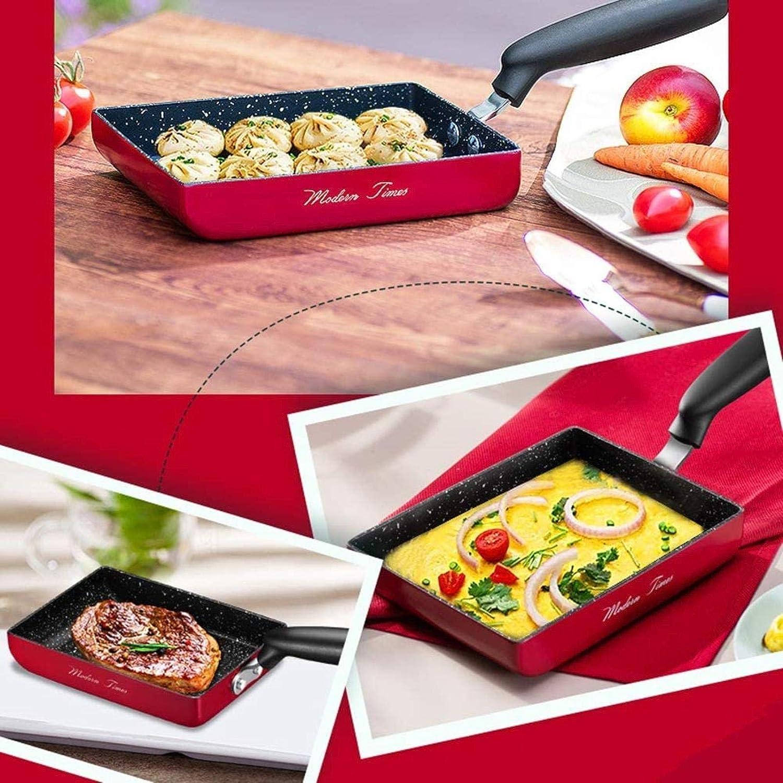 DXDUI Omelette Pan, Revêtement Anti-Adhésif, Rectangle Mini Frying Pan Rouge