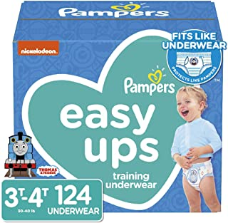 Pampers Easy Ups Pull On Disposable Potty Training Underwear for Boys, Size 5, 3T-4T (124 Count), ONE MONTH SUPPLY