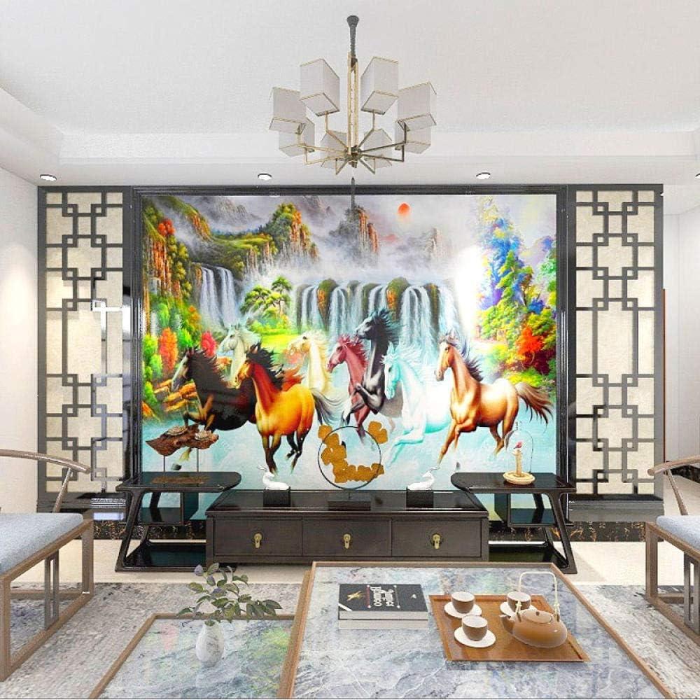 8D Estilo Oriental Ocho Caballos Galopando Caballo Galopando Mural Oficina Sala de estar TV Fondo Papel de pared Caballo al éxito Cubierta de pared-250cmx175cm