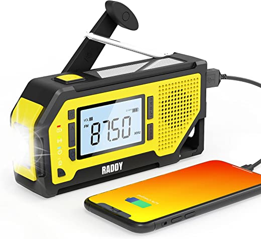 【2021 Newest】 Raddy NW3 Emergency Weather Radio with NOAA Alert, AAA Battery Hand Crank Solar Powered with Flashlight, Phone Charger, AM/FM Radio, SOS Alarm, for Outdoor Camping Survival Prepper Kit