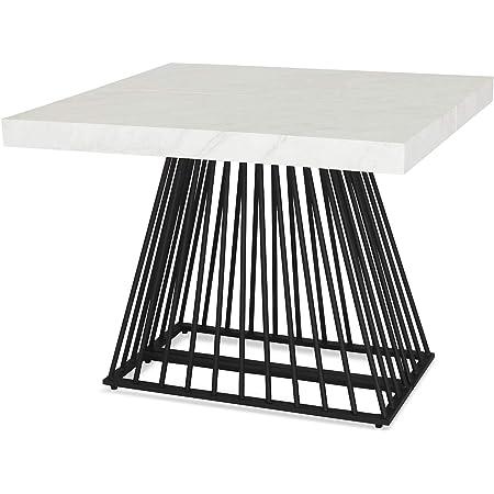 Menzzo Table a Manger avec Pied de Table Metal   Table Extensible Salle a Manger  Table Cuisine avec Pied Central  Effet Marbre  Factory  Dimensions: L100xP90xH75 cm Dépliée: L100xP140-190-240xH75 cm