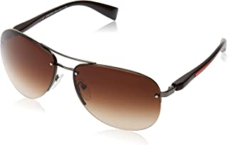 3e4bbc256b686 Prada Men s Gradient Linea Rossa PS56MS-5AV6S1-65 Brown Aviator Sunglasses