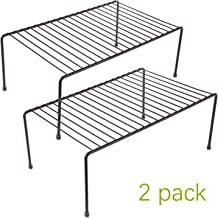 yaenoei 2 Pack - Kitchen Storage Shelf Rack w/Plastic Feet - Medium - Steel Metal - Rust Resistant Finish - Cups, Dishes, Cabinet & Pantry Organization [Bronze]