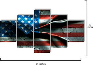 Star Layout - 5 Piece Canvas Wall Art - American Flag - Modern Home Decor Stretched and Framed Ready to Hang - 64