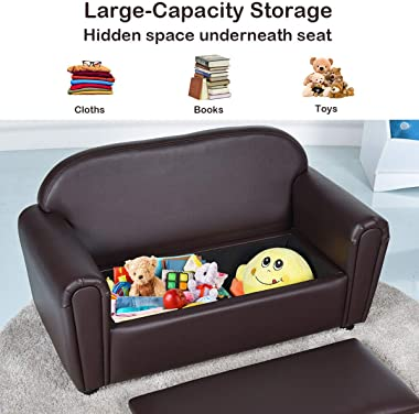 Costzon Kids Sofa, Double Seat Children's Sofa w/Under Seat Storage, Toddler Furniture Armrest Chair for Bedroom, Kids Ro