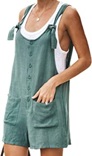 JBEELATE Women's Cotton Linen Short Overalls Casual Cropped Bib Pants Summer Loose Romper Jumpsuit with Pockets