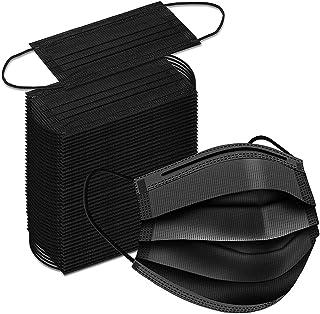50 قطعة من الكمامات السوداء للاستعمال مرة واحدة - 3 طبقات جيدة التهوية مع فلتر واقٍ كغطاء للفم مع حلقة مرنة للاذن ومشبك للانف