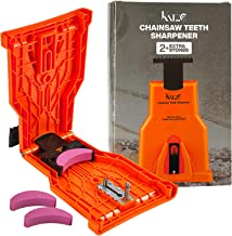 Katzco Chainsaw Teeth Sharpener - Plus 2 Extra Whetstones - Sharpening Chainsaw for Wood, Bone, PVC, Tree Pruning, Camping, Hunting, Toolbox, Bushcraft, Landscaping, Yard Work, and Survival Gear