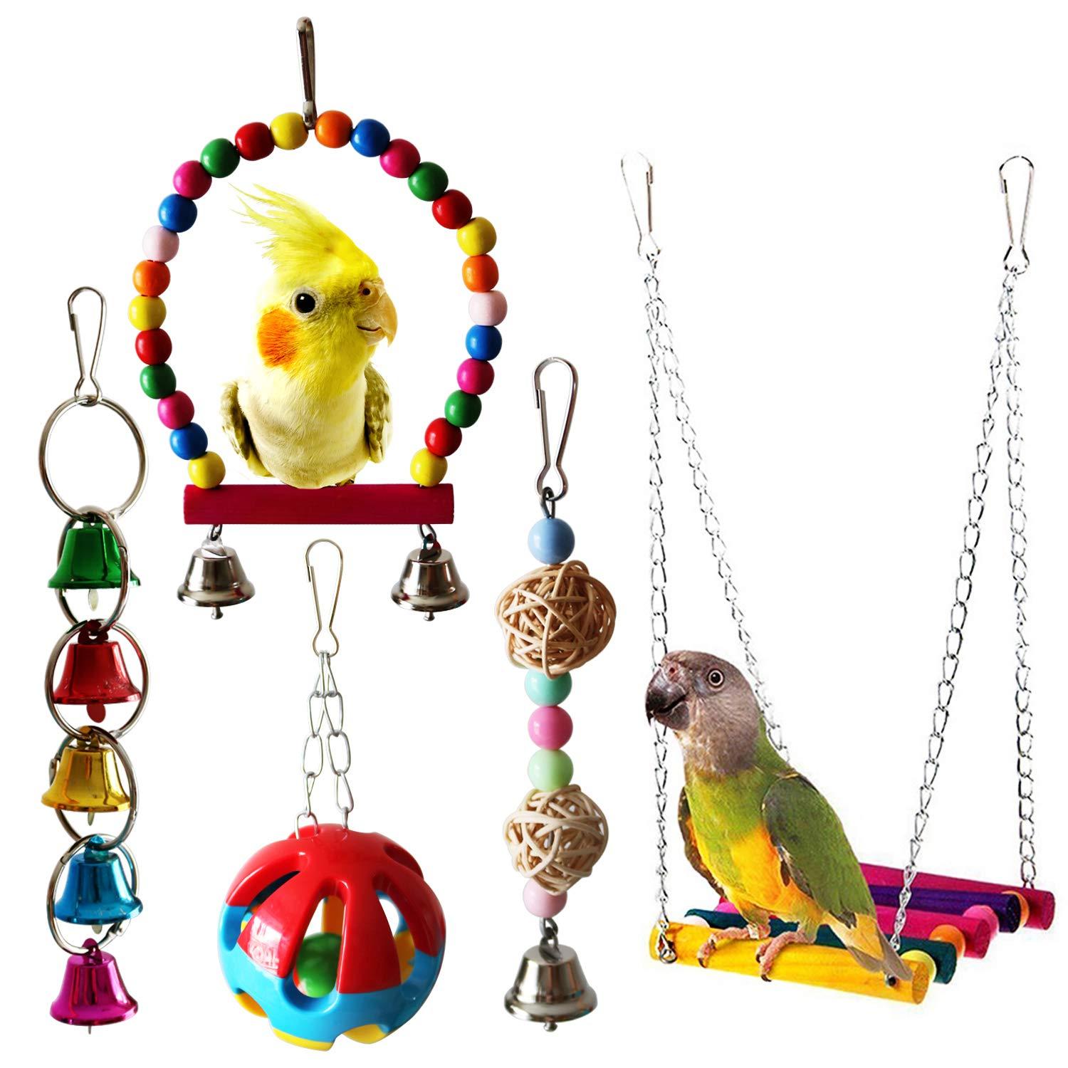 Amazon Com Bwogue Bird Swing Toys With Bells Pet Parrot Cage Hammock Hanging Toy Perch For Budgie Love Birds Conures Small Parakeet Finches Cockatiels 5 Pack Pet Supplies