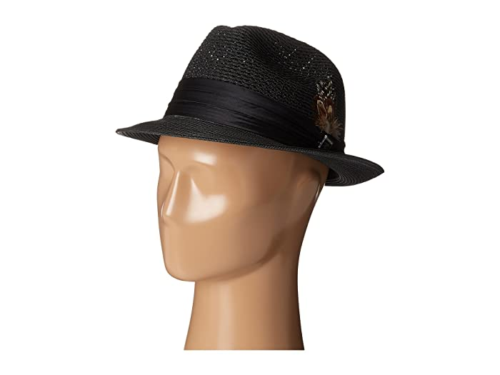Stacy Adams Polybraid Pinch Front Fedora with Silk Band (Black) Fedora Hats