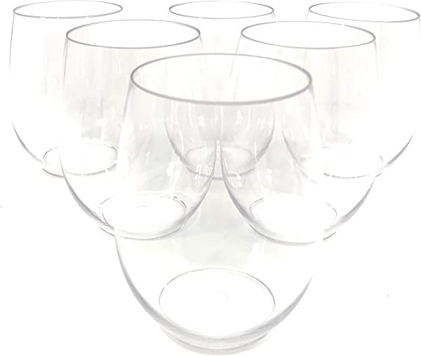 48 Piece Stemless Unbreakable Crystal Clear Plastic Wine Glasses Set Of 48 10 Ounces