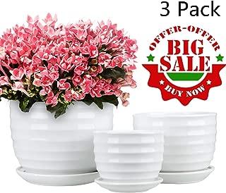 Encheng Round Modern Ceramic Garden Flower Pots Small to Medium Sized, White Planter Pots 3 Packs