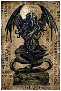 Cthulhu Mythos Necronomicon Great Old One Cthulhu Statue Canvas Poster Wall Art Decor Print Picture Paintings for Living Room Bedroom Decoration DONGDA Poster 20×30inch(50×75cm) Unframe: