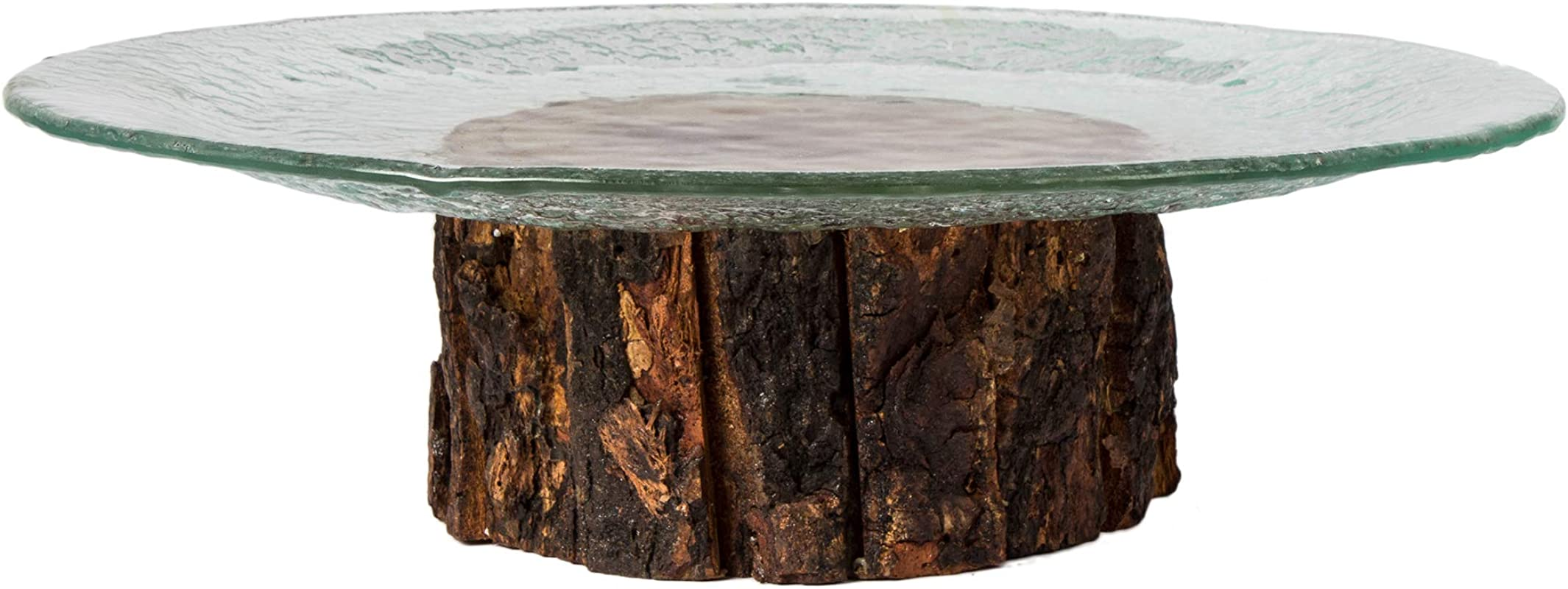 Red Fig Home Tree Trunk Serving Tray Platter Cake Stand Slumped Round Glass Display Plate On Rustic Wood Base Decorative Holder For Dessert Cupcakes Appetizers And Hors D Oeuvres