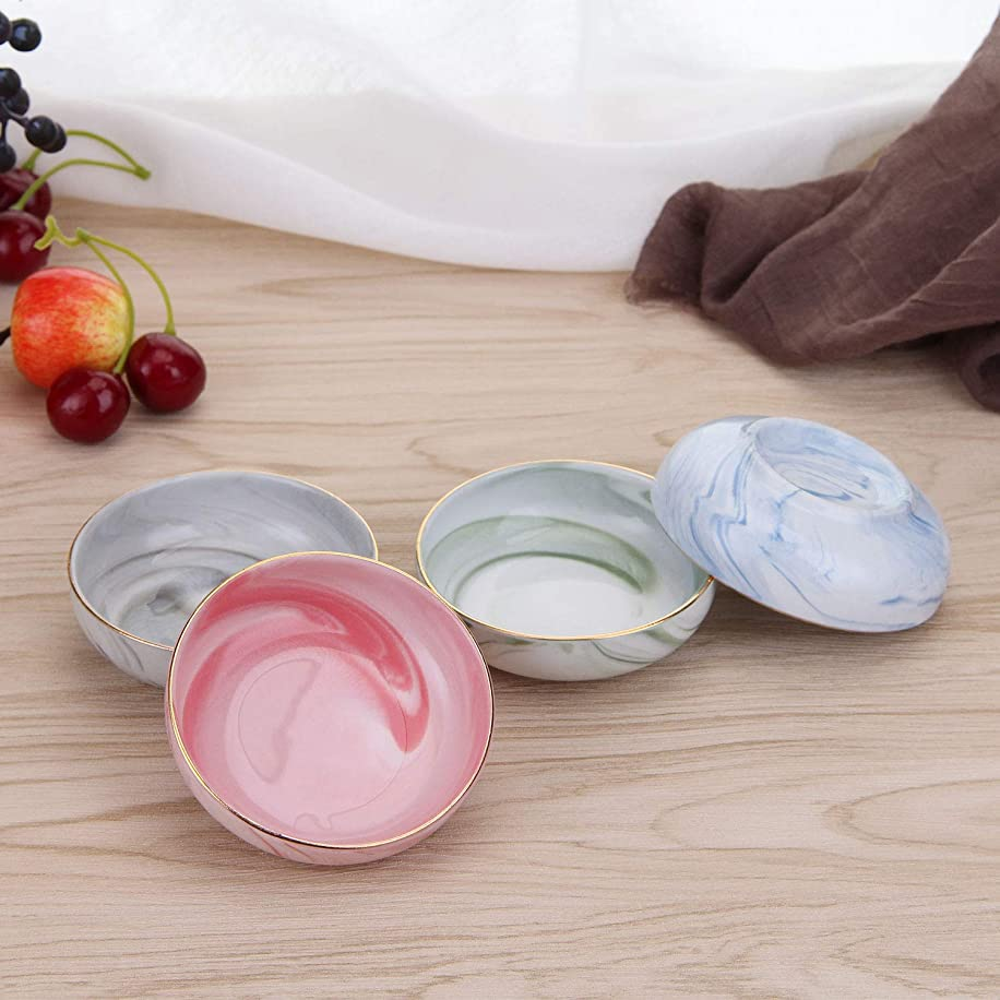 VanEnjoy 4 pcs Colorful Marble Pattern Ceramic Soy Sauce Dipping Bowls Appetizer Plates Serving Dishes Condiment Dish