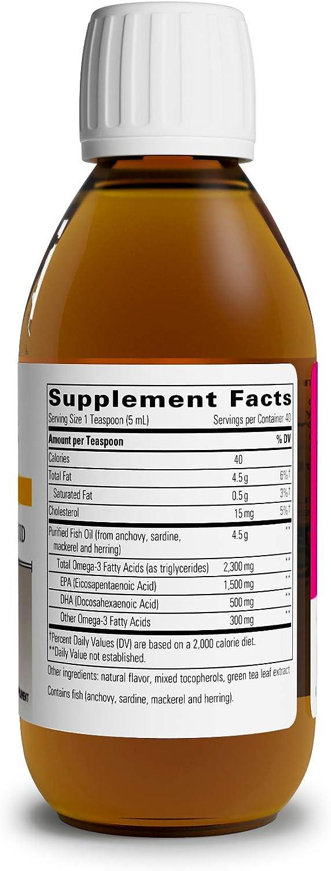Integrative Therapeutics - Pure Omega Liquid Fish Oil - Natural Lemon Flavor - 2300 mg Omega 3 Fatty Acids with EPA and DHA - Wild Fish Oil - No Fishy Burp Back - 6.8 fl oz