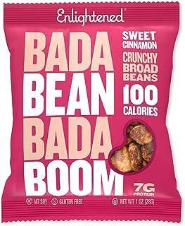 Bada Bean Bada Boom - Plant-Based Protein, Gluten Free, Vegan, Crunchy Roasted Broad (Fava) Bean Snacks, 100 Calorie Packs, Sweet Cinnamon, 1 Ounce (24 Count)