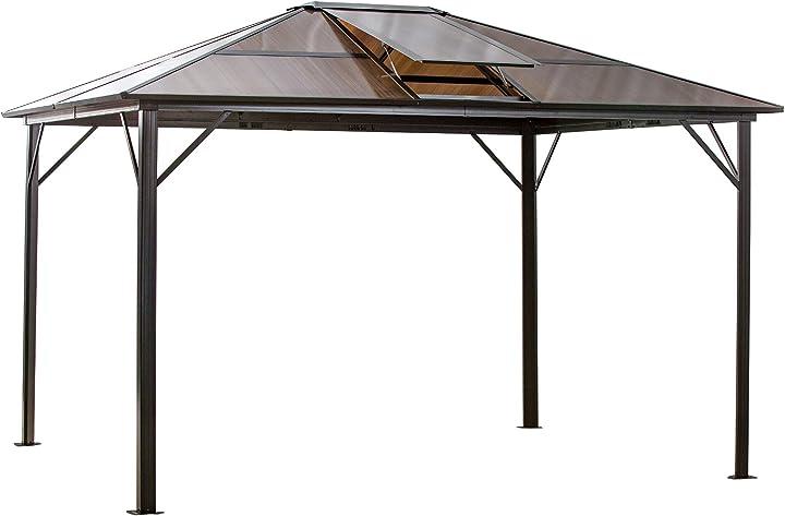 Gazebo giardino 345x280cm con tettuccio apribile in policarbonato anti-uv, struttura in lega di alluminio IT84C-2030631