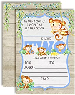 Our Little Monkey Watercolor Jungle Second Birthday Party Invitations for Boys, 20 5