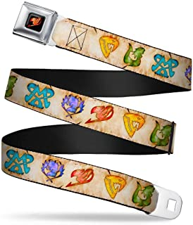Buckle-Down Seatbelt Belt - Fairy Tail 5-Guild Symbols Weathered Tan/Multi Color - 1.0