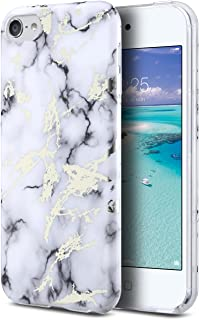 ULAK iPod Touch 7 Case,iPod 6 Marble Case, Clear Case Slim Fit Anti-Scratch Flexible Soft TPU Bumper Hybrid Shockproof Protective Case for Apple iPod Touch 5 / 6th / 7th Generation, Marble White