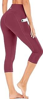 High Waist Yoga Pants with Pockets, Tummy Control Yoga Capris for Women, 4 Way Stretch Capri Leggings with Pockets