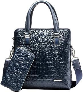 Alligator Print Genuine Leather Tote Bag Laptop Shoulder Buiness Briefcase for M