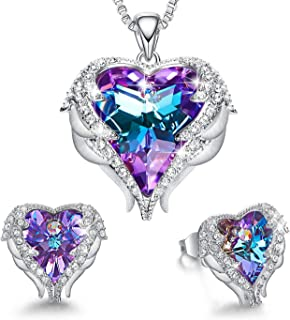 Angel Wing Heart Necklaces and Earrings Embellished with Crystals from Swarovski 18K White Gold Plated Jewelry Set Gifts for Women