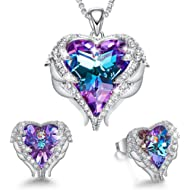 CDE Angel Wing Heart Necklaces and Earrings Embellished with Crystals from Swarovski 18K White...