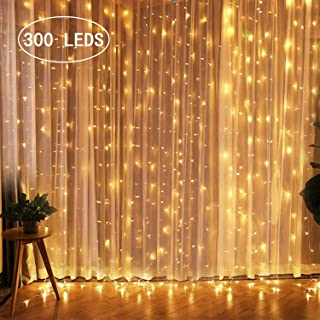 CREASHINE Christmas Lights 300 LED Window Curtain String Light, LED Fairy String Lights 8 Modes Decoration for Wedding Party Home Garden Bedroom Outdoor Indoor Wall Decorations, Warm White(9.8x9.8 Ft)
