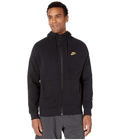Nike NSW Club Hoodie Full Zip (Black/Black/Metallic Gold) Men