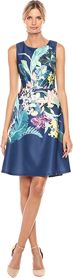 Tropical Essence Printed Scuba Jewel Neck Fit and Flare Dress