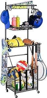 Mythinglogic 4-Tier Sports Equipment Storage Organizer for Garage,Rolling Sports Ball Storage...