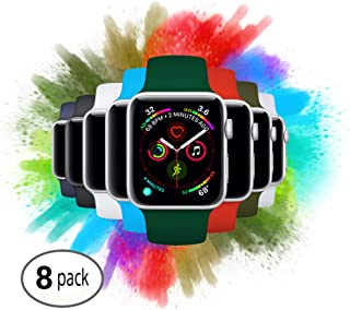8 Pack Replacement Apple Watch Sport Bands | Fits iWatch Series 4 Both 40mm & 44mm | A Variety Bundle Set Fits All Models, Series 1, 2, 3, 4, Nike+, Edition - Size S/M M/L