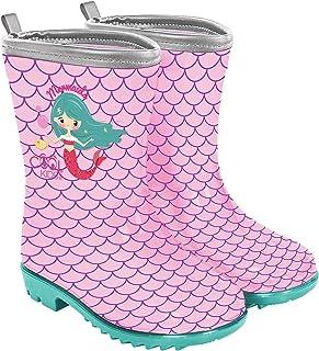 PERLETTI Bottes de Pluie Fille Petite Sirène - Bottines Fillette Little Mermaid Rose et Vert Matériau PVC Imperméable - Ga...
