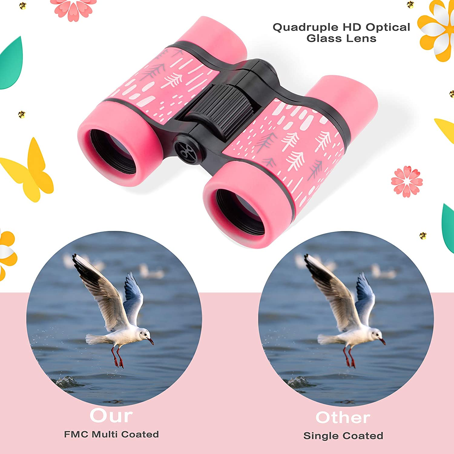 Blue Camping Outside Play Binoculars for Kids Bird Watching Outdoor Games Compact Shockproof Waterproof Toys 3-12 Years Boys Girls Best Gifts 5X30 High Resolution for Hiking Hunting