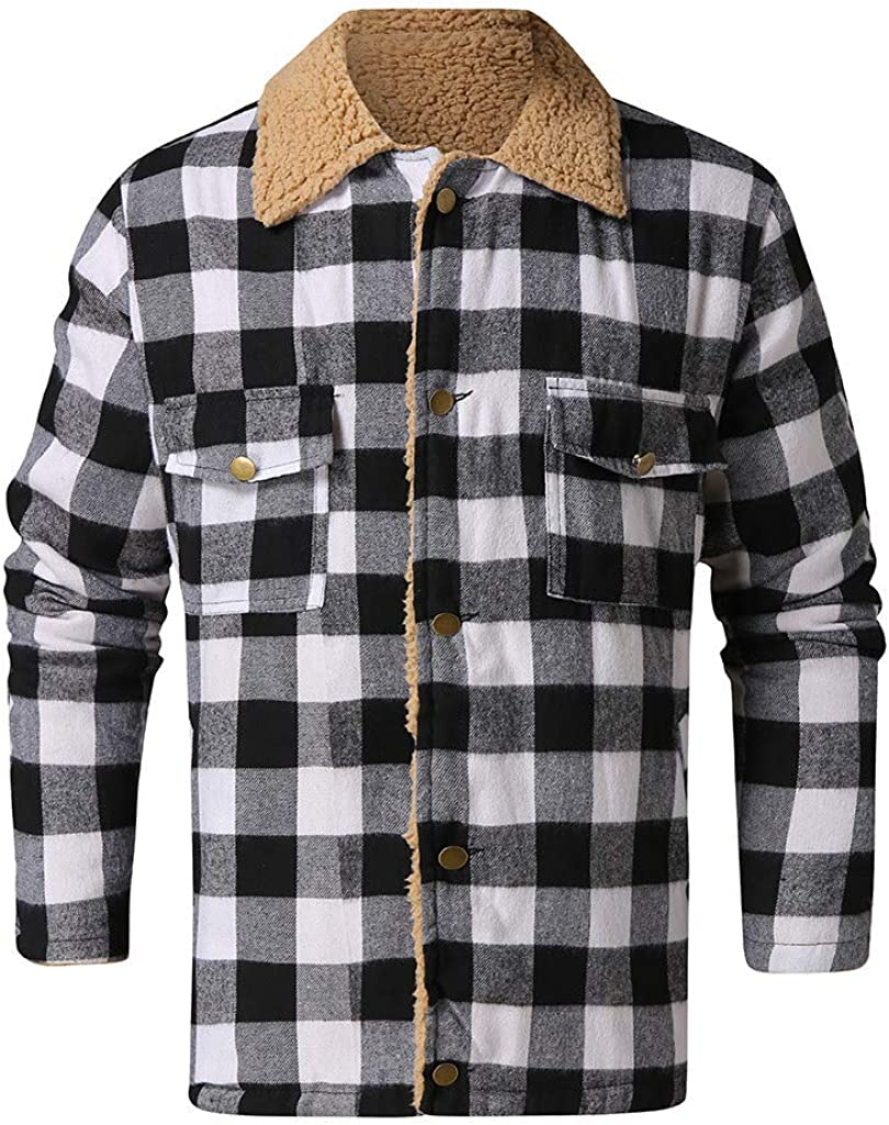 Men's Plaid Stamp Jackets,Long Sleeved Warm Lined Plush Thicken Shirt V226