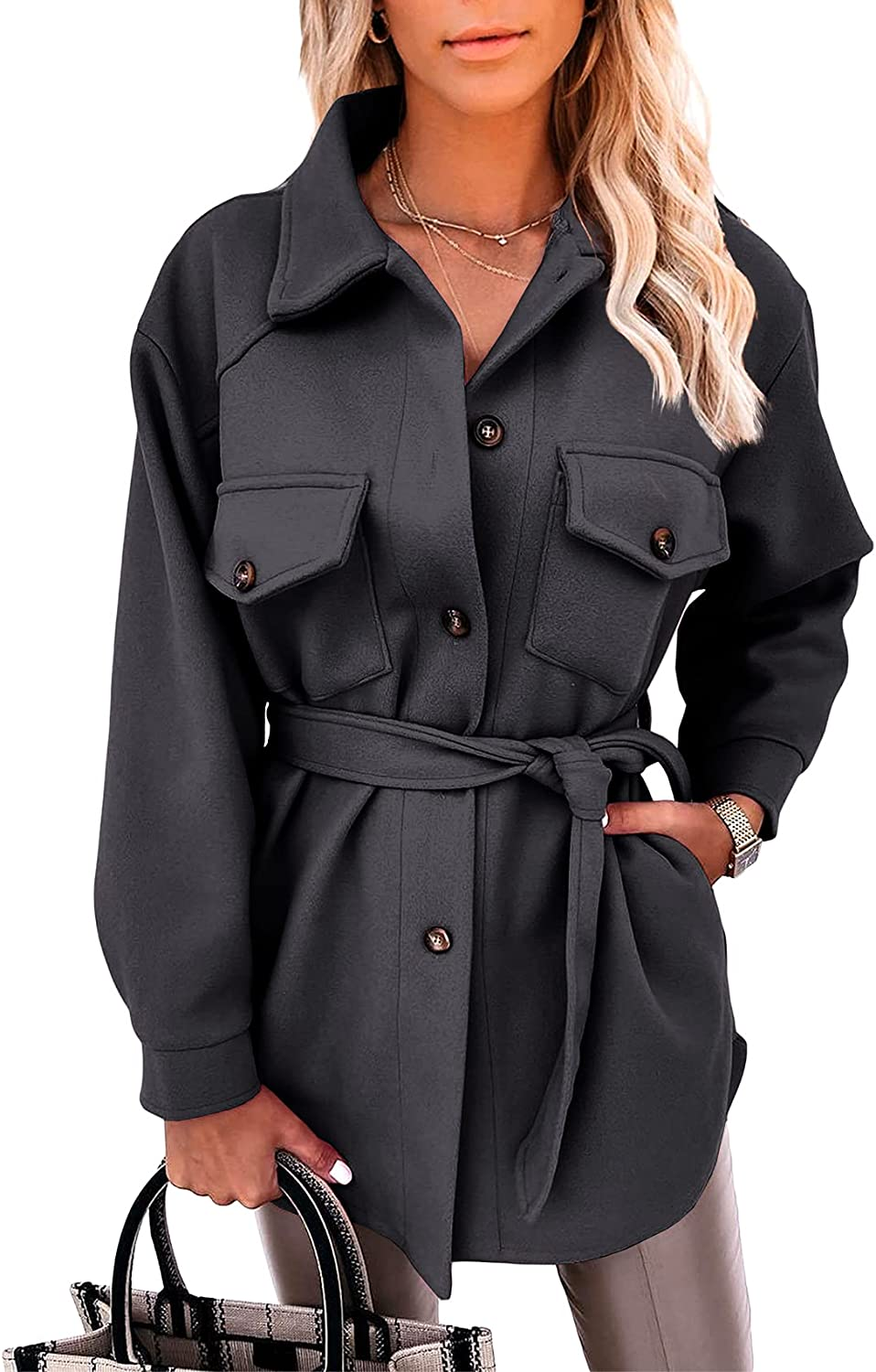 Women's Shaket Jacket Single Breasted Belted Wrap Mid Length Tre