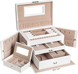 SONGMICS Jewelry Box for Women, Jewelry Organizer with 2 Drawers, Lockable Jewelry Case with Mirror, Portable Travel Case, for Rings, Earrings, Necklaces, Gift, White UJBC121W